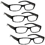 The Reading Glasses Company Die Lesebrille Unternehmen Schwarz Leicht Komfortables Leser Wert 4er-Pack Designer Stil Herren Frauen UVR4PK032 +1, 50 / Schwarz, UVR4PK032-15, Optische Leistung: +1,50