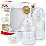 NUK Nature Sense Babyflaschen Starter Set | 0–18 Monate | 2 x Anti-Colic-Babyflaschen & Genius Schnuller | BPA-frei | Herz (neutral) | 4 Stück