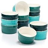 COM-FOUR® 12x Soufflé Förmchen - Creme Brulee Schälchen aus Keramik - Ofenfeste Förmchen - Dessertschale und Pastetenförmchen für z.B. Ragout Fin - je 200 ml - in verschiedenen Grüntönen