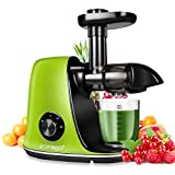 CIRAGO Entsafter Slow Juicer, BPA Frei Entsafter Gemuese und Obst, mit 2 Geschwindigkeitsmod, Ruhiger Motor und Umkehrfunktion, leicht zu reinigen und Reinigungsbürste.