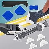 Silikonentferner & Silikon Fugenwerkzeug, Multifunktionale 9 pcs Profi Silikon Werkzeug Schaber Set mit Dichtung für Küche Badezimmer Boden Fliesen