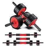 OneV FT Einstellbare 10Kg Kurzhantel Langhantel 2 in 1 Set mit Verbindungsstange freie Gewichte Stärke Home Fitness-Übungsgeräte für Haus, Fitnessstudio, Büro (10)