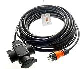 netbote24 Schuko Gummi-Verlängerungskabel mit 3-Fach Verteilersteckdose H07RN-F 3G1,5 mm² IP44 geeignet für Außen 230V / 16A (15m)