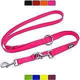 DDOXX Hundeleine Nylon, 3fach verstellbar   viele Farben & Größen   für kleine & große Hunde   Doppel-Leine Hund Katze Welpe   Schlepp-Leine groß   Führ-Leine klein   Lauf-Leine   XS, Pink, 2m