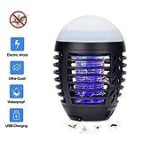 Hisome Moskito Lampe, Moskito Killer Licht Bug Zapper UV Insektenfalle, USB Elektrisch Mückenfalle, 2-in-1 Elektrischer Insektenvernichter Insektenlampe Camping Akku Zelt Laterne für Innen Außen