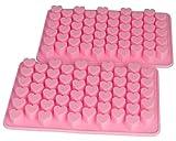 BlueFox 2er Set Silikonform Herzchen Silikon Herzlein Eiswürfel Pralinenform Silikon min Herzform Silicone Seife Zuckerguss, Farbe: Pink