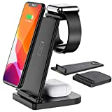 Bestrans Kabelloses Ladegerät All in One, 3 in 1 Fast Wireless Charger Ladestation für Apple Watch 6/5/4/3/2, AirPods Pro/2, Fast Wireless Charging Stand für iPhone11 Pro Max/X/XS/XR/8Plus (Schwarz)