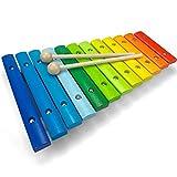 Spielzeug Xylophon für Kinder aus Holz mit 12 Tönen - UNGESTIMMT - Wunderschönes Glockenspiel mit farbigen Klangplatten - Schult Motorik und begeistert fürs Musizieren - Holzspielzeug von Lisa&Max