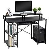 Topsky Computertische mit Ablagefächern/Tastaturablage/Monitorständer Studiertisch für das Home Office (Schwarz, 118 x 48cm)