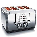 Arendo - Automatik Toaster 4 Scheiben in Edelstahl - bis zu vier Sandwich und Toast-Scheiben - Bräunungsgrad 1-6 - Aufwärm- und Auftaufunktion - Krümelschublade - 1630 Watt - GS zertifiziert