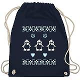 Weihnachten & Silvester - Norweger Pixel Pinguin - Unisize - Navy Blau - turnbeutel norwegen - WM110 - Turnbeutel und Stoffbeutel aus Baumwolle