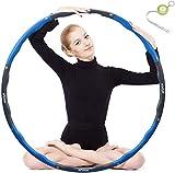 Hula Hoop zur Gewichtsreduktion,Reifen mit Schaumstoff ca 1 kg Gewichten Einstellbar Breit 48–88 cm beschwerter Hula-Hoop-Reifen für Fitness (4 Knoten Grün + Grau) mit Mini Bandmaß (Blau)
