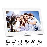 Digitaler Bilderrahmen 7 Zoll 1280x800 Full-IPS-Display Video/Foto/Musik-Player, Diashow, Digitaluhr, Kalender, Wecker, Elektronischer Fotorahmen mit Fernbedienung(7inch, Weiß)