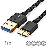 1m Nylon Micro USB 3.0 Datenkabel, schwarz, Festplattenkabel mit bis zu 5Gbit/s, Datenkabel und Ladekabel für Externe Festplatten etc, USB A Stecker auf Micro B Stecker, Goldstecker