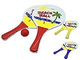 JustRean Toys Beach-Ball Set aus Holz | 2 Schläger 1 Ball im Netz 33 x 19cm Griff blau rot o. gelb | Strand-Ball Strand-Spielzeug