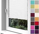Home-Vision Premium Plissee zum Anschrauben in der Glasleiste Innenrahmen (Weiß, B75cm x H100cm) Blickdicht Plissee Jalousie mit Halterungen zum Bohren, Sonnenschutzrollo Rollo