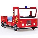 Deuba Kinderbett 205x94,5x103 cm Rausfallschutz Lattenrost 100kg Juniorbett Autobett Feuerwehr Bett Schlafzimmer Spielbett Rot