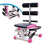 WHJX Mini Stepper,Stepper für Zuhause mit Power Ropes,Fitnesstraining für Zuhause Up-Down-Stepper,Side-Stepper,Multifunktionsdisplay Beintrainer,Maximale Belastbarkeit:100 kg(Color:Rosa)