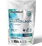 Collagen Pulver   Premium Multi Collagen Complex   Kollagen Hydrolysat   Peptide Typ 1,2,3,4,5   Geschmacksneutral   Ohne Zusatzstoffe   Eiweiß   Protein   Aminosäuren   Mastervalley   500g