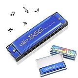 Xinmeng Mundharmonika Blues C-Dur, Mundharmonika Kinder, Erwachsene, Anfänger Harp Harmonica 10 Löch 20 TönUe, für Anfänger/Profis mit Etui (Blau)