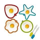 KATOOM 4er Silikon Spiegeleiform Set für Bratpfanne, Ei Ringe Silikon Pfannkuchenform Eierform in Stern Herz Kreis Blumen Rund Motiv mit 2er Öl Pinsel