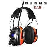 PROTEAR Wiederaufladbare Gehörschutz mit Radio und Bluetooth,FM/AM Radio Eingebautem Mikrofon,für Industrie,BAU und Mähen Lärmreduzierung -SNR 30dB(Orange)