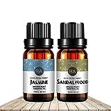 Jasmine Sandalwood ÄTherische Öl Set Jetzt Aromatherapie 100% Reine therapeutische Grade Öle, 2 / 10ml - Pack von 2