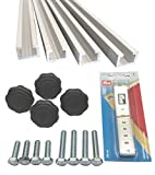 4 Stück à 1m Aluminium C-Profil + Maßband + Sterngriffmuttern M8 + Schrauben / Alu C Profil