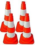 4 Stück 2. Wahl Leitkegel Warnleitkegel Pylon 50 cm teilweise etwas abgelöste Folienstreifen, Kegel orange nicht reflektierend