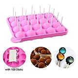 Erlsig Cake Pop, Silikonform für Lutscher/Süßigkeiten, mit 100 Stäbchen, Eiswürfelform/Gumdrop/Gelee/Rosa