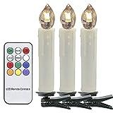 VINGO 30er Weinachten LED Kerzen Lichterkette Weihnachtskerzen mit Fernbedienung kabellos LED-Mini-Christbaumkerzen, Dimmbar