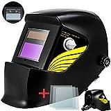 Masko® Automatik Schweißhelm + 3x Ersatzgläser | großes Sichtfeld | für alle gängigen Schweißtechniken - Schweißmaske Schweißschirm Solar Schweißschild Schutzhelm | gegen Funken, Strahlungen Black
