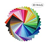 Heatigo filzstoff,Bastelfilz 40 Farben DIY Handwerk Nähen Filz Stoff Kinder Patchworkstoff 10 x 10 cm