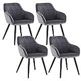 WOLTU 4 x Esszimmerstühle 4er Set Esszimmerstuhl Küchenstuhl Polsterstuhl Design Stuhl mit Armlehne, mit Sitzfläche aus Samt, Gestell aus Metall, Dunkelgrau, BH93dgr-4