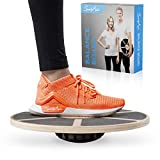 SportyAnis® Premium Balance-Board Holz inkl. Übungsbuch und optional Unterlegmatte, Durchmesser 40 cm - Therapiekreisel Wackelbrett für Physiotherapie zur Stärkung der Tiefenmuskulatur