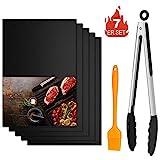 Winzwon BBQ Grillmatte, Wiederverwendbar Grillmatten, Backmatte und BBQ Antihaft Grillmatte für Fleisch, Fisch und Gemüse 40x33 cm (5 Matten +1 Pinsel + 12' Clip)