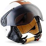 "Moto Helmets® H44 ""Vintage White"" · Jet-Helm · Motorrad-Helm Roller-Helm Scooter-Helm Bobber Mofa-Helm Chopper Retro Cruiser Vintage Pilot Biker · ECE Visier Schnellverschluss Tasche XL (61-62cm)"