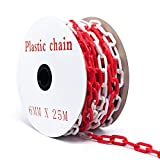 25m Absperrkette Plastikkette Kunststoffkette rot/weiß Ø 6mm Kette Warnkette Parkplatz Parkplatzsperre Kette Kunststoff