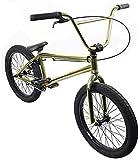 QZ 20 Zoll BMX Räder Freestyle for Anfänger bis hin zu Fortgeschrittenen High Carbon Stahlrahmen, 25X9T BMX Gearing, mit U-Typ Bremse, Gold