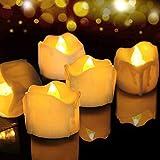 LED Kerzen, FOCHEA 12er Set Flammenloses LED Kerzen/Teelichter/LED Teelicht Batteriebetriebener mit Timer-Funktion, 6 Stunden an und 18 Stunden aus für Weihnachtsdek Hochzeit(Gelb)