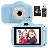 YUNKE Kinderkamera, Kamera für Kinder, Digitale Kinderkameras mit 3,5-Zoll-Bildschirm 8,0 MP 1080P HD-Kamera, Wiederaufladbare -Spielzeugkamera für Kinder 2-10 Jahre alt Geburtstag Weihnachten (Blau)