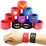 LATERN 10Pcs Bunte Schnapparmbänder für Kinder, Superhelden Slap Bands Silikon Wristband Party Bag Füllstoffe Slap Armbänder Set für Kinder Jungen & Mädchen Birthday Party Favors