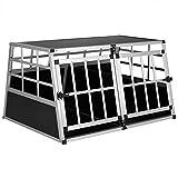 Cadoca Hundetransportbox XL robust verschließbar aus Aluminium Autotransportbox Tiertransportbox 98x70x51cm