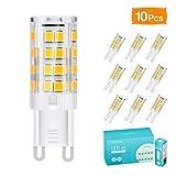 G9 LED Lampe, TASMOR 5W G9 LED Leuchtmittel 550 Lumens 3000K Warmweiß Kein Flackern, G9 LED Ersetzt 50W Halogenlampen, 360° Abstrahlwinkel, CRI 80, Nicht Dimmable, 220-240V AC, 10 Stück