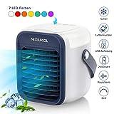 [VERBESSERTE] Mobile Klimaanlage Tragbare Mini Luftkühler | Verdunstungskühler Luftbefeuchter Lufterfrischer Ventilator mit 3 Geschwindigkeiten | 7 Farben LED für Schlafzimmer Wohnzimmer Büro Reise