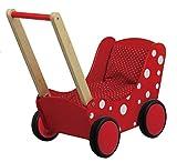GICO Puppenwagen Lauflernwagen aus Holz, red & dots mit Garnitur und Gummirädern