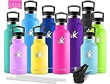 KollyKolla Vakuum-Isolierte Edelstahl Trinkflasche, 350ml BPA-frei Wasserflasche mit Filter, Thermosflasche für Kinder, Mädchen, Schule, Kindergarten, Sport, Wandern, Camping, Outdoor, Rose Rot