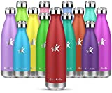 KollyKolla Vakuum Isolierte Edelstahl Trinkflasche, 750ml BPA Frei Wasserflasche Auslaufsicher, Thermosflasche für Sport, Outdoor, Fitness, Kinder, Schule, Kleinkinder, Kindergarten (Rot)
