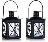 Sinrextraonry 2 Stück Vintage schwarze Mini-Kerzenlaternen, 9 cm, Metall Teelicht im marokkanischen Stil, Kerzenhalter Dekoration für Geburtstage, Partys, Hochzeiten, Tischaufsatz, entspannendes Spa