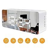 JUBOOS Digitaler Wecker, LED Digital Wecker Spiegel USB Reisewecker mit Snooze/Datum/Temperatur für Schlafzimmer Büro Nacht Kinder und Erwachsene (Weiß)